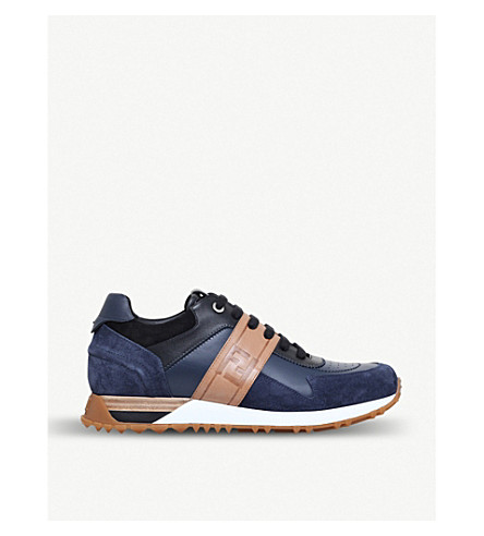 FENDI Runner leather low-top trainers (Navy