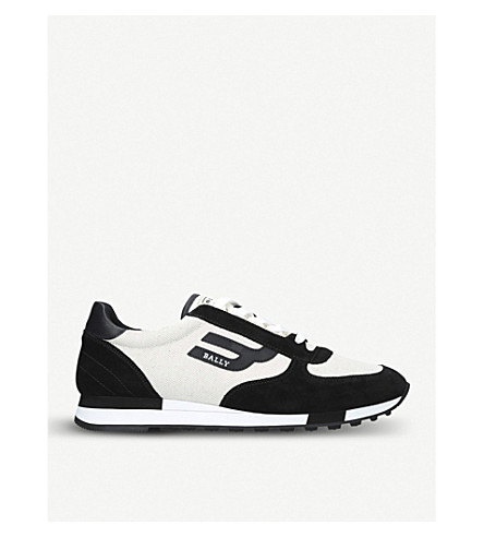 BALLY Gavino low-top canvas and suede trainers (Blk/white
