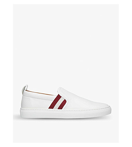 BALLY Herald striped leather skate shoes (White