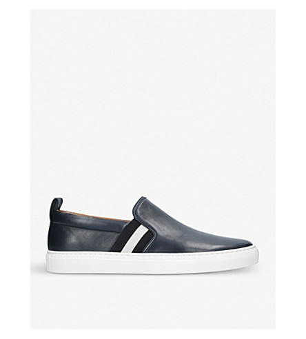 BALLY Herald striped leather skate shoes (Navy