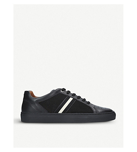 BALLY Herk low-top leather and mesh trainers (Black