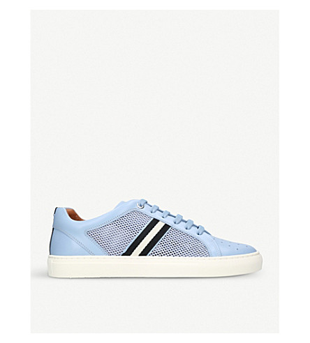 BALLY Herk leather and mesh trainers (Pale+blue