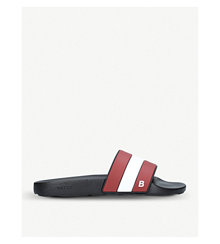 BALLY Sleter stripe rubber sliders (Black/comb