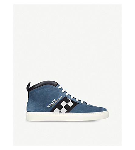 BALLY Vita-Parcours suede high-top trainers (Blue