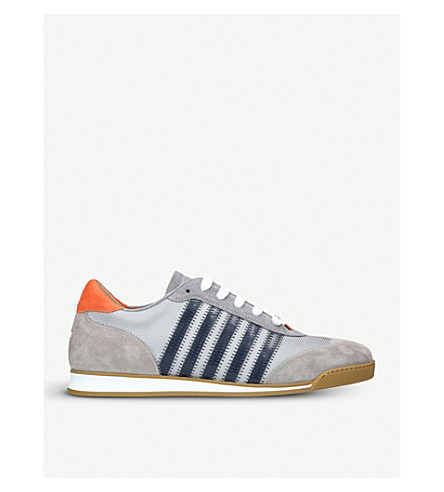 DSQUARED2 5 stripe suede and mesh trainers (Grey
