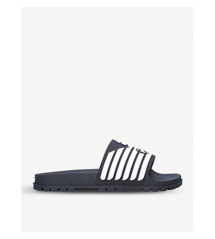 GIORGIO ARMANI Striped rubber sliders (Blue/pal.c