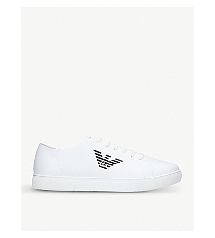 GIORGIO ARMANI Logo-detail leather trainers (White