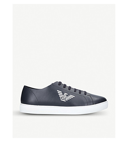GIORGIO ARMANI Logo-detail leather trainers (Navy