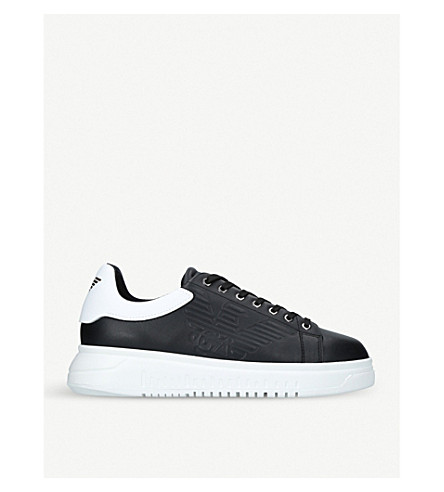 GIORGIO ARMANI Eagle Icon leather trainers (Blk/white