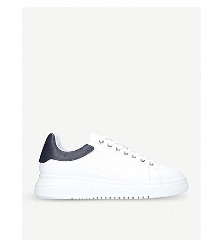 GIORGIO ARMANI Eagle-icon leather trainers (White/navy