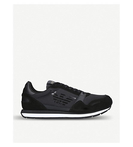 GIORGIO ARMANI Eagle runner suede and mesh trainers (Black