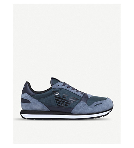 GIORGIO ARMANI Eagle runner suede and mesh trainers (Blue