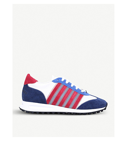 DSQUARED2 5 stripe suede and leather trainers (Blue/pal.c