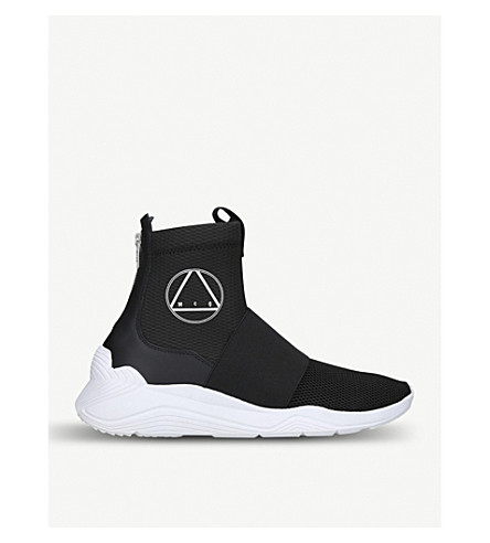 MCQ ALEXANDER MCQUEEN Hikaru leather and mesh-knit high-top trainers (Black