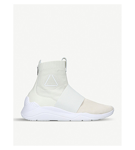 MCQ ALEXANDER MCQUEEN Hikaru suede knit high-top trainers (White