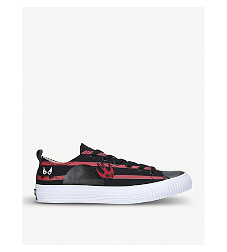 MCQ ALEXANDER MCQUEEN Monster leather and canvas low-top trainers (Blk/red