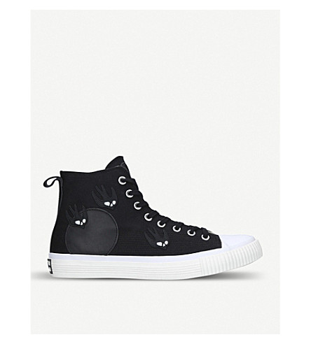 MCQ ALEXANDER MCQUEEN Swallow cotton-canvas high-top trainers (Black