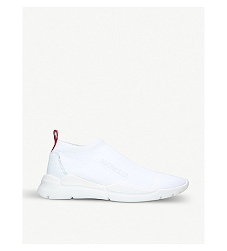 MONCLER Adon Sock fabric and leather trainers (White