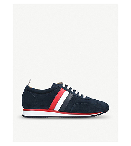 Runner striped leather and suede trainers(2032484209)