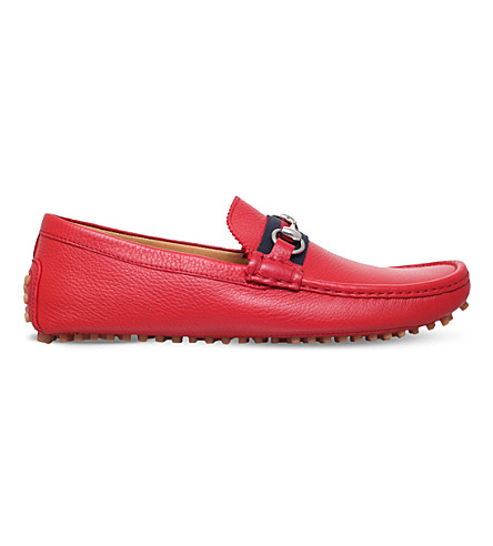 GUCCI Damo leather driving shoes (Red