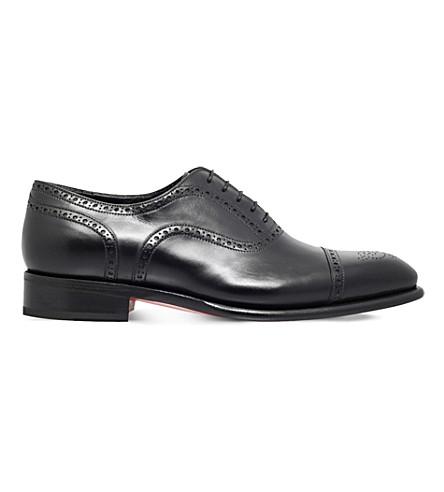 SANTONI 卡特皮革牛津鞋履 (黑色
