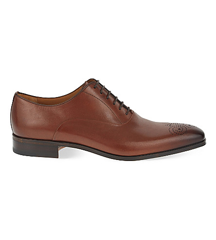 STEMAR Punch toe leather Oxford shoes (Tan