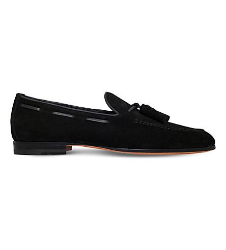 SANTONI Carlos suede tassel loafer (Black
