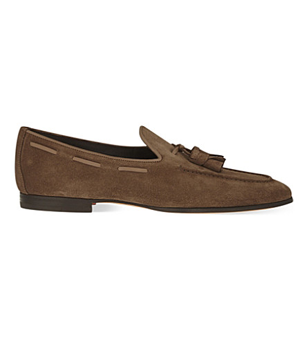 SANTONI Carlos suede tassel loafers (Brown