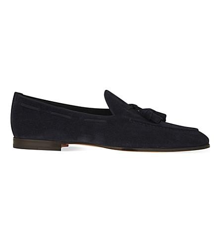 SANTONI Carlos suede tassel loafers (Navy