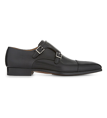 MAGNANNI Double monk leather shoes (Black
