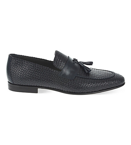STEMAR Woven leather penny loafers (Navy