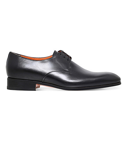 SANTONI Cater leather derby shoes (Black