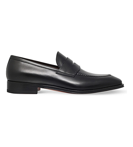 SANTONI Duke leather penny loafers (Black