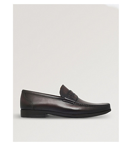 MAGNANNI Croc leather penny loafers (Brown