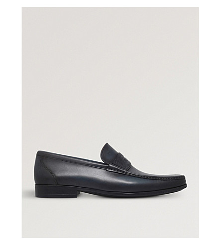 MAGNANNI Croc leather penny loafers (Navy