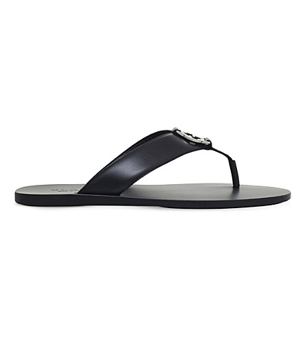 GUCCI Interlocking G leather sandals (Black