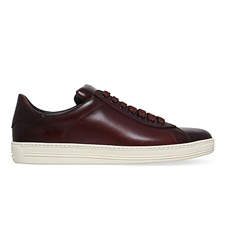 TOM FORD Russel leather trainers (Mid+brown