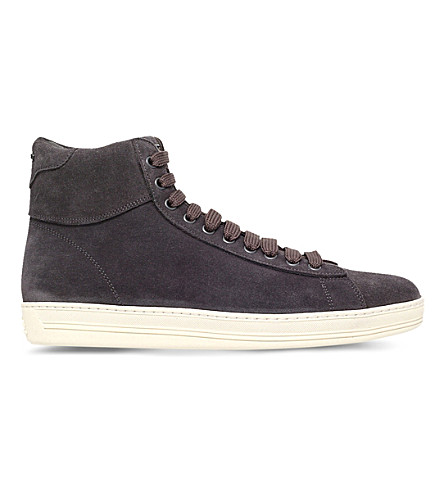 TOM FORD Russel suede high-top trainers (Grey/dark