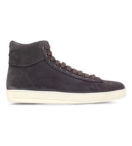 TOM FORD Russel suede high-top sneakers (Grey/dark