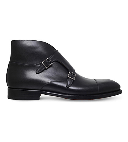 MAGNANNI Vadal double-buckle leather boots (Black