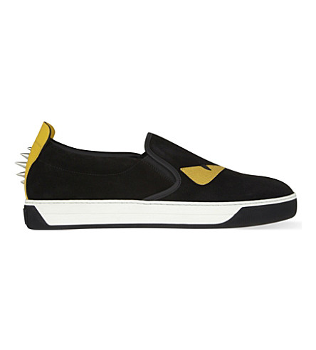 FENDI Monster suede skate shoes (Black