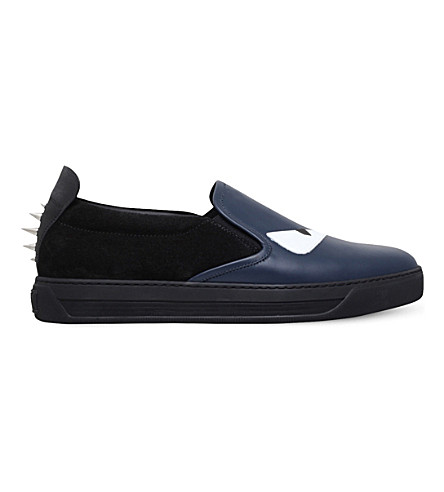 FENDI Monster leather and suede skate shoes (Blk/blue