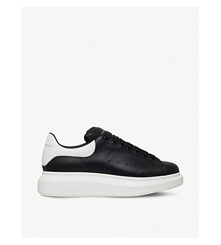 ALEXANDER MCQUEEN Show leather platform trainers (Blk/white