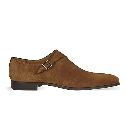 MAGNANNI Single suede monk shoes (Tan