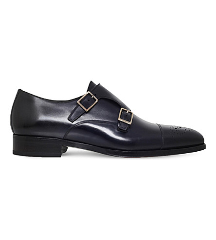 TOM FORD Austin double-strap leather monk shoes (Blue