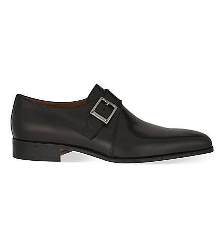 STEMAR Leather single monk shoes (Black