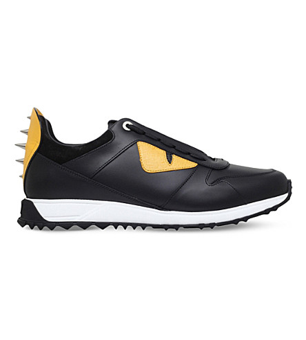 FENDI Bugs leather low-top trainers (Black