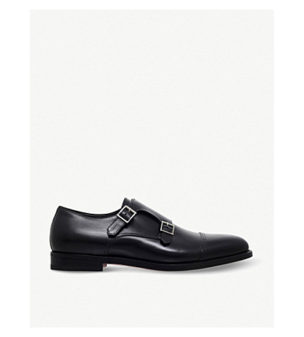 SANTONI Wilson leather monk shoes (Black