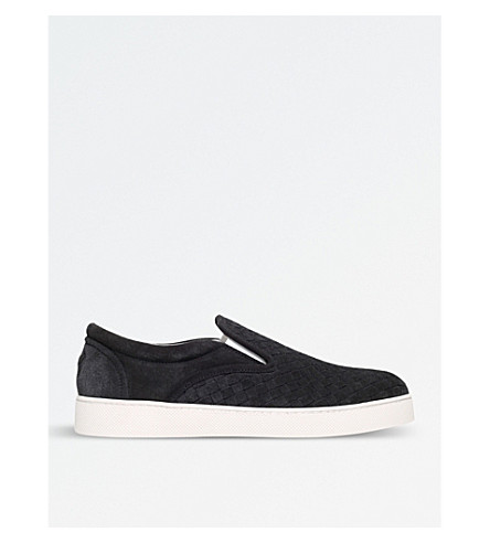 BOTTEGA VENETA Dodger II suede Intrecciato trainers (Grey/dark