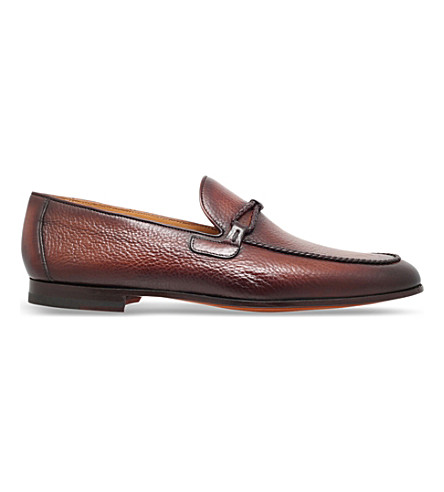 MAGNANNI Braid-trim leather loafers (Tan